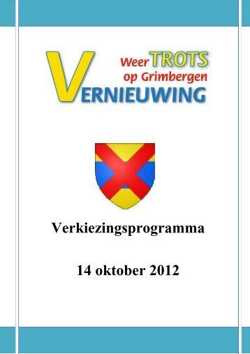 Verkiezingsprogramma 14 oktober 2012 - Yves Verberck
