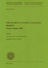 THE PALMOTTU NATURAL ANALOGUE PROJECT