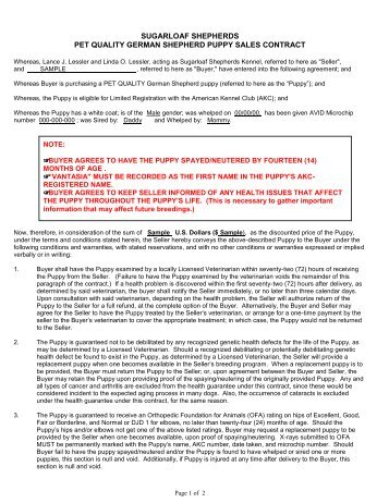 Brush Dale Kennel Puppy Sales Agreement - Brush Dale Hunting