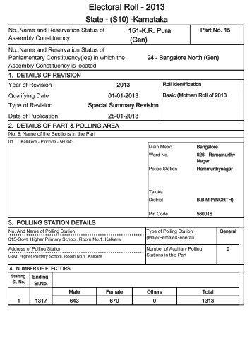 Electoral Roll - 2013 - Chief Electoral Officer of Karnataka