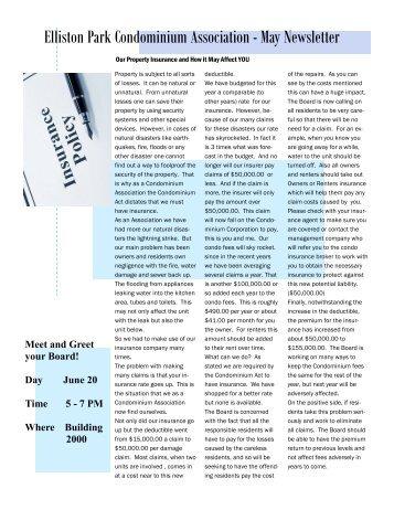 Elliston Park Condominium Association - May Newsletter