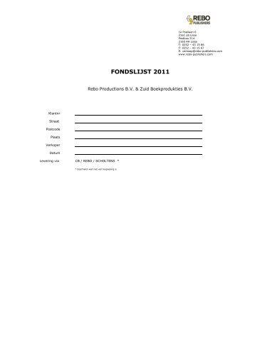 FONDSLIJST 2011 - Rebo Publishers