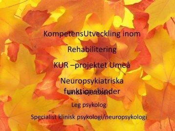 KompetensUtveckling inom Rehabilitering KUR –projektet Umeå ...