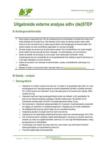 Uitgebreide externe analyse - Vlaamse Sportfederatie