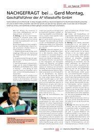 NACHGEFRAGT bei ... Gerd Montag, - A³ Vliesstoffe® GmbH