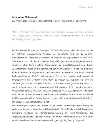 Fazit meiner Diplomarbeit zur Analyse der Leistung ... - patrickfink.de