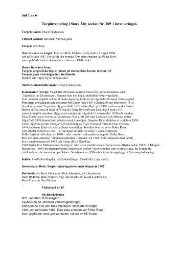 Sid 1 av 6 Torpinventering i Stora Åby socken Nr. 269 i inventeringen.