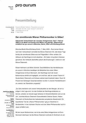Der einmillionste Wiener Philharmoniker in Silber!