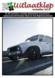 Uitlaatklep november 11 - Renault Vrijbuiter Vrienden Club