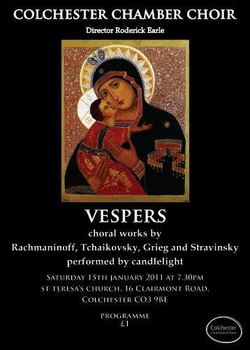 choral works by Rachmaninoff, Tchaikovsky, Grieg and Stravinsky ...