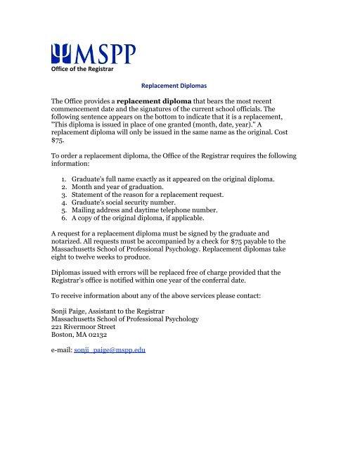 Massachusetts School Of Professional Psychology >> Replacement Diploma Request Massachusetts School Of