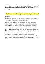 Marten de Vries - Methodologie van de dialoog christenen en moslims