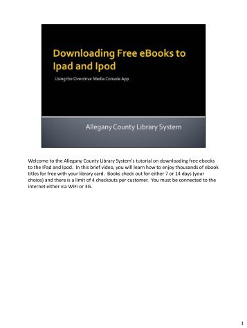 Welcome to the Allegany County Library System's tutorial on ...