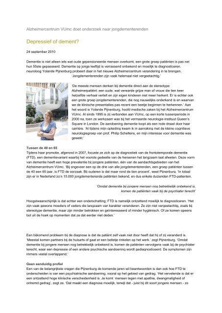 Alzheimercentrum VUmc doet onderzoek naar ... - Dagboek FTD