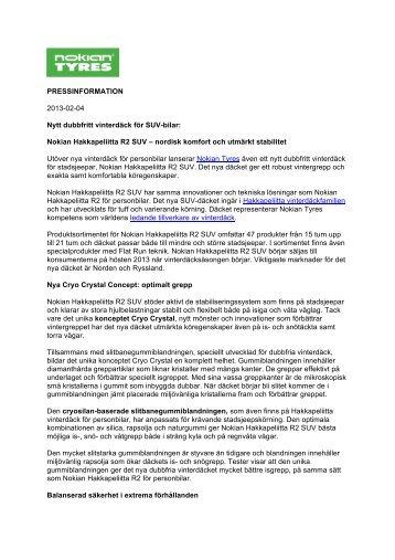 Page 1 PRESSINFORMATION 2013-02-04 Nytt dubbfritt vinterdäck ...
