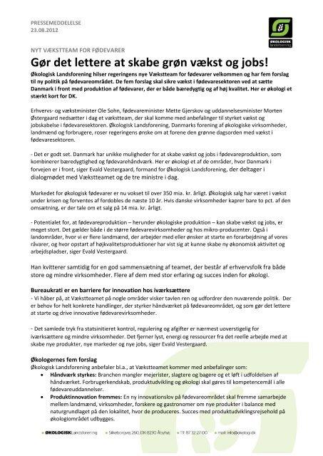 Gør det lettere at skabe grøn vækst og jobs! - Økologisk Landsforening