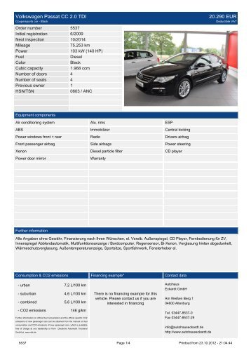 Volkswagen Passat Variant 1.9 TDI DPF ... - Autohaus Eckardt Gmbh