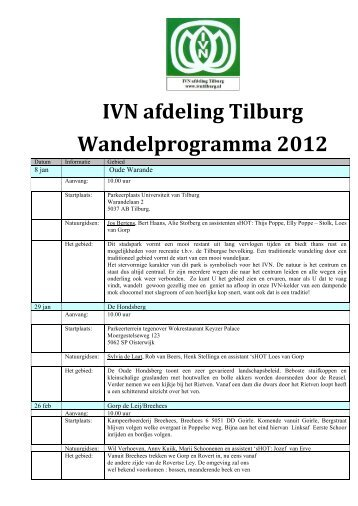 IVN afdeling Tilburg Wandelprogramma 2012