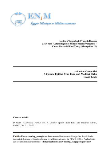 Articulata Forma Dei. A Cosmic Epithet from Esna and ... - ENiM