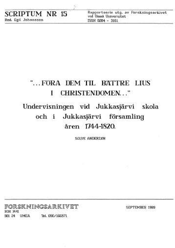 Föra dem til bättre lius i christendomen... - Forskningsarkivet - Umeå ...