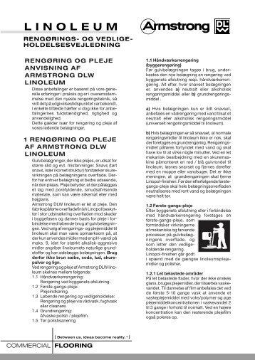 1 rengøring og pleje af armstrong dlw linoleum - Carl P. Aalborg A/S