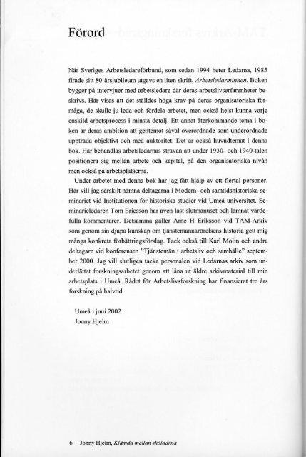 Förord, innehållsförteckning, källor och ... - TAM-Arkiv