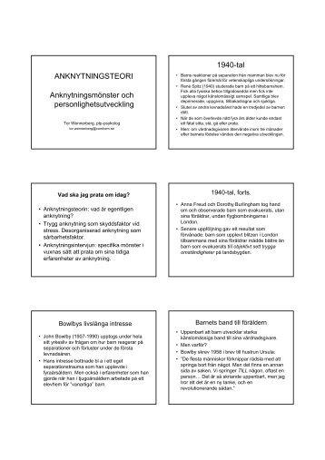 ANKNYTNINGSTEORI Anknytningsmönster och ... - Webbhotell SLL
