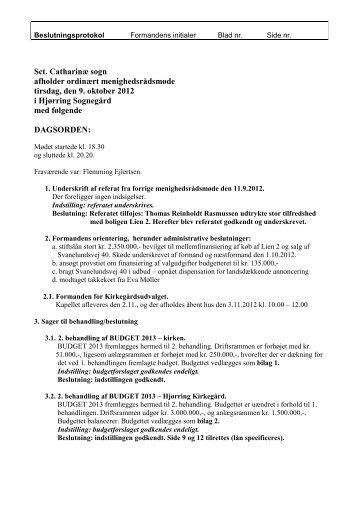 Referat fra 9. oktober 2012 - Sct. Catharinae Kirke