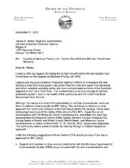 Letter from Montana Governor Schweitzer supporting NPL proposa