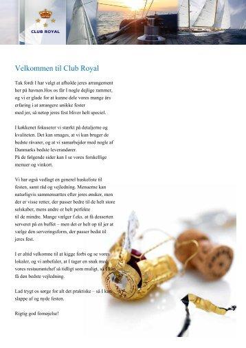 Selskabsmenu - Club Royal Rungsted havn