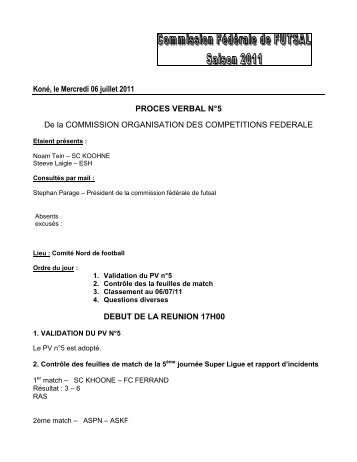 Koné, le Mercredi 06 juillet 2011 PROCES VERBAL N°5 De la ...