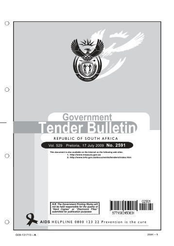 Tender Bulletin: 17 July 2009 - South African Government Information