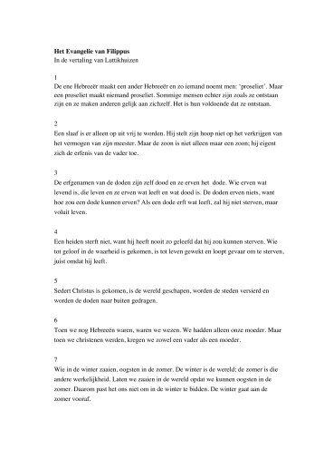 Het Evangelie van Filippus In de vertaling van Luttikhuizen 1 De ene ...