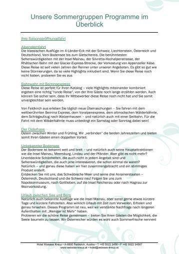 Unsere Sommergruppen Programme im Überblick