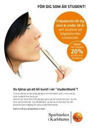 Studenterbjudande - Sparbanken i Karlshamn