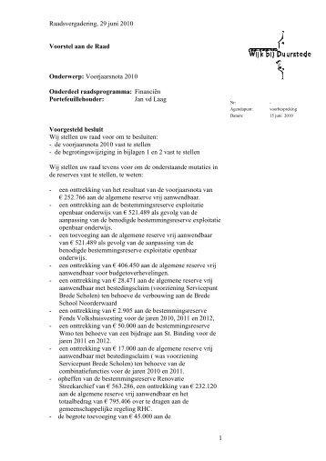 Raadsvoorstel_Voorjaarsnota_2010 - gemeente Wijk bij Duurstede