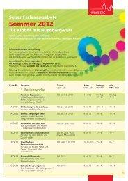 Super Ferienangebote für Kinder mit Nürnberg-Pass Sommer 2012