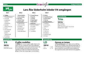 V4 ld och trio tisdag lindesberg