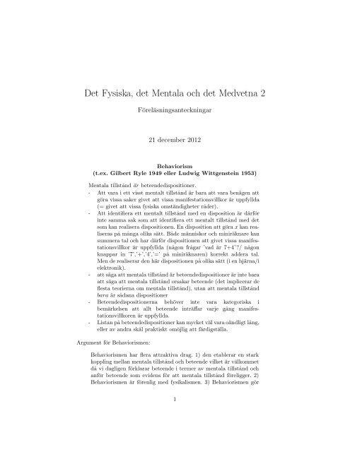 Föreläsningsanteckningar 2