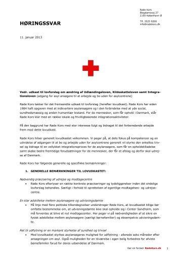 Ændring af Udlændingeloven, Kildeskatteloven og ... - Røde Kors