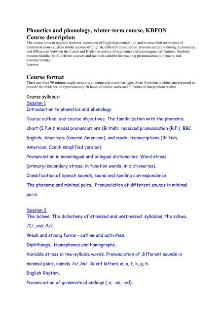 Phonetics and phonology, winter-term course, KBFON Course