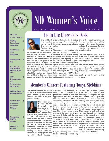 Download our most recent Newsletter - North Dakota Women's ...