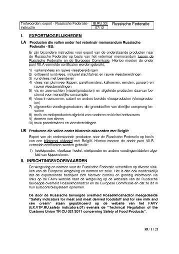 IB.RU.33 Russische Federatie I. EXPORTMOGELIJKHEDEN ... - Favv