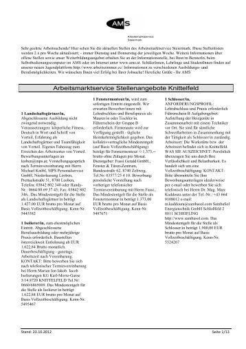 Arbeitsmarktservice Stellenangebote Knittelfeld
