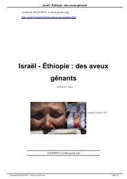 Israël - Éthiopie : des aveux gênants - AEUD.INFO