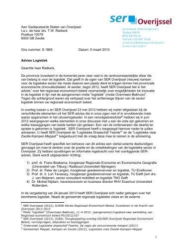 advies van SER Overijssel - Binnenlands Bestuur