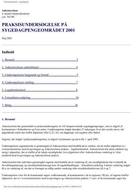 Sygedagpengeområdet 2001 - Ankestyrelsen