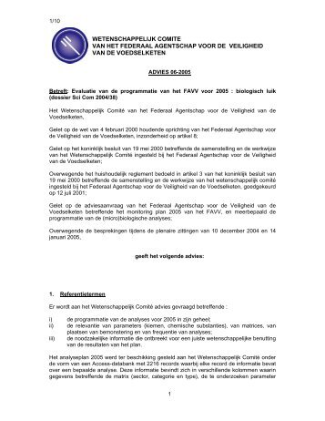 ADVIES 06-2005 van het Wetenschappelijk comité van het FAVV
