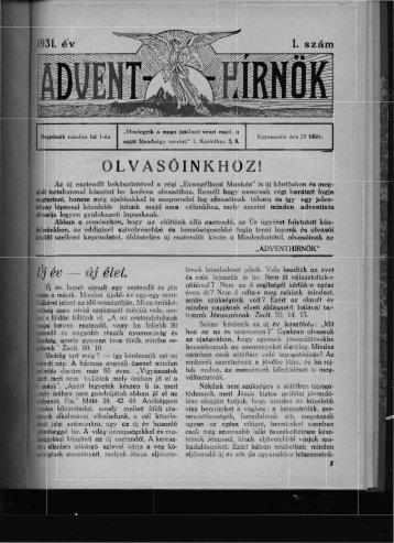 1931. ékv - Kisegyház-kutató Egyesület