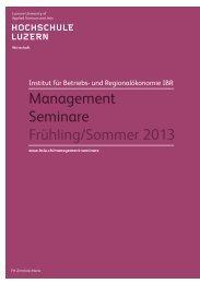 Broschüre Management Seminare 2013 - Alumni MBA Luzern